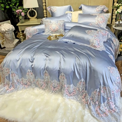Italian Lace Duvet Cover Set-Blue