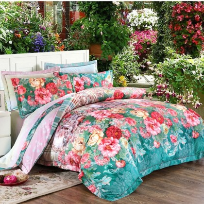 Jacquard Phony Flowers Queen Duvet Cover Set-Green