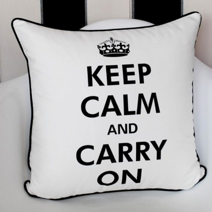 White Keep Calm Carry On Cushion Cover
