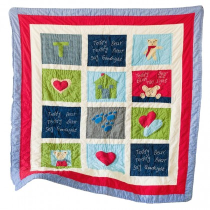 Teddy Bear Goodnight Toddler Quilt Blanket