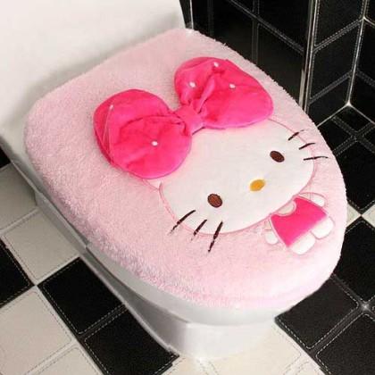 Hello Kitty & Bowtie Toilet Seat Cover
