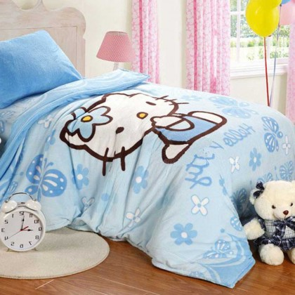 Hello Kitty Blue Fleece Duvet Cover Set