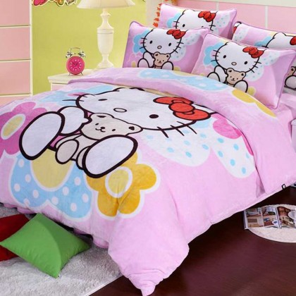 Hello Kitty & Little Bear Fleece Duvet Cover Set