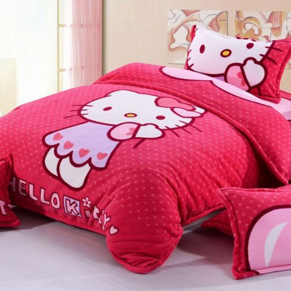 Red Hello Kitty Fleece Duvet Cover Set