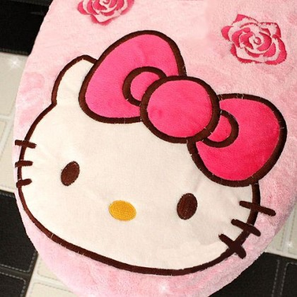 Hello Kitty & Roses Toilet Seat Cover