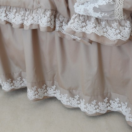 Khaki Lace Bedskirt