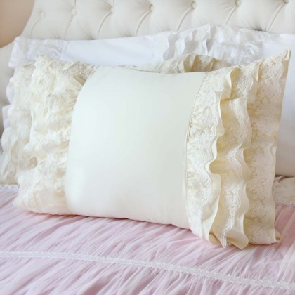 Lace Whisper Pillow Sham, Cream Yellow