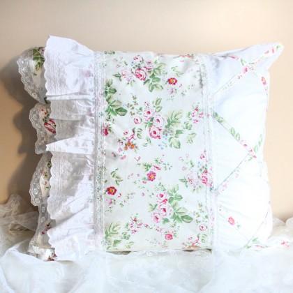 Floral Ruffle Lace Linen Euro Sham