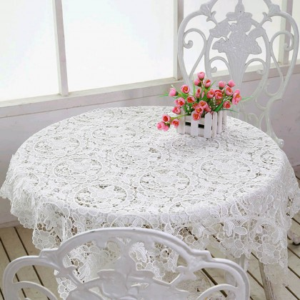 White Embroidered Lace Tablecloth