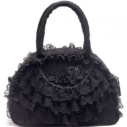 Black Lace Ruffled Bag Style B