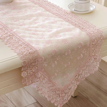 Full Embroidery Lace Pink Tablecloth