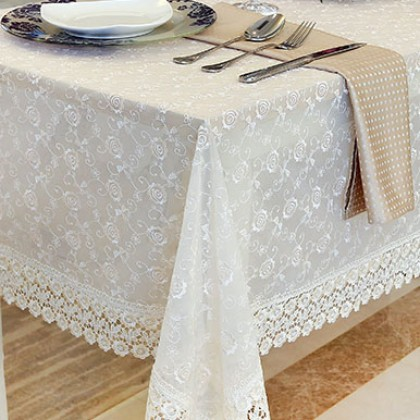 Full Embroidery Lace Ivory Tablecloth