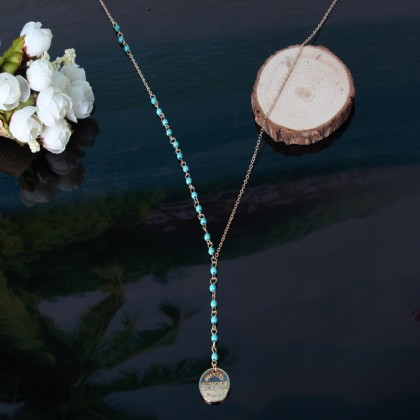 Lariat Hanging Coin Turquoise Necklace
