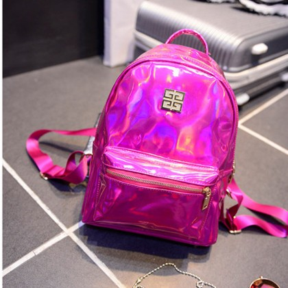 Fuschia Laser Hologram Backpack