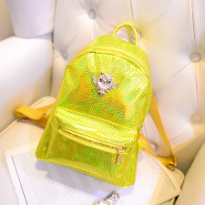 Yellow Hologram Owl Backpack