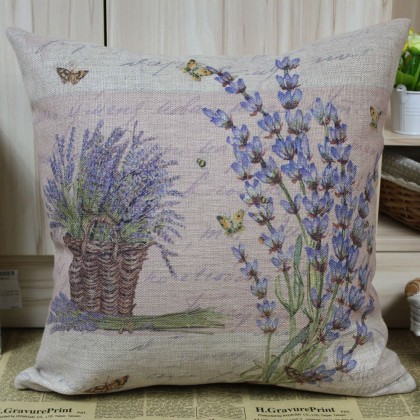 Purple Lavender Cushion Cover