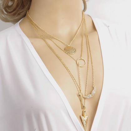 Lariat Layered Arrow Coin Mustage Necklace