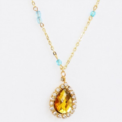 Triple Layered Tube Geometry Coin Yellow Rhinestone Lariat Necklace