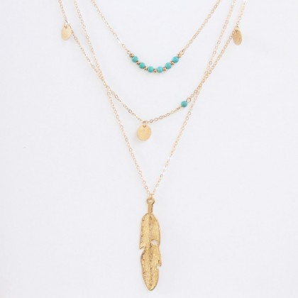 Triple Layered Leave Geometry Coin Turquoise Lariat Necklace