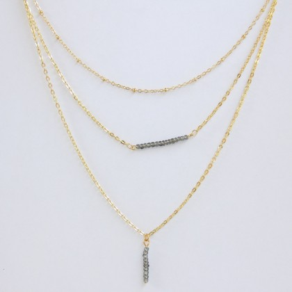 Layered Grey Beads Geometry Lariat Necklace