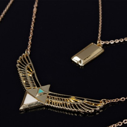 Lariat Layered Geometry Eagle Wing Necklace