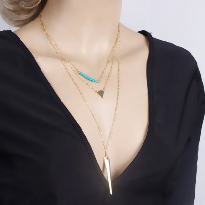 Lariat Layer Down Triangle Bar Turquoise Necklace