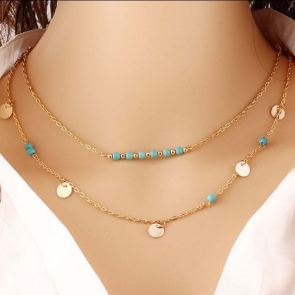 Lariat Layering Coins Turquoise Necklace