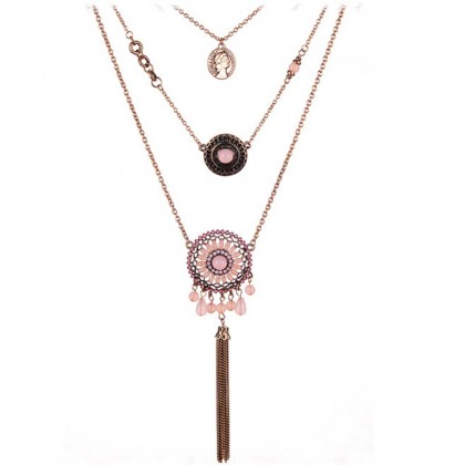 Fashion Boho Pink Layering Necklace