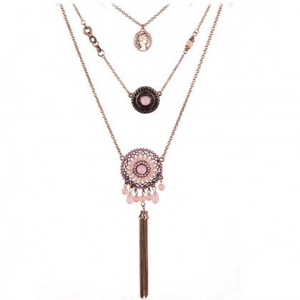 Fashion Boho Pink Layering Necklace
