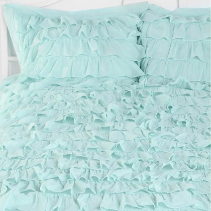 Light Aqua Waterfall Ruffle Sham-Set of 2