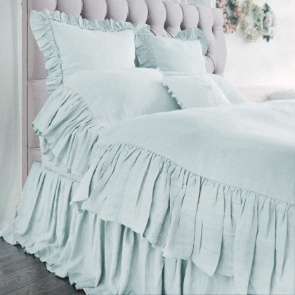 Mermaid Long Ruffle Duvet Cover Set- Blue