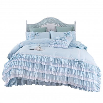 Light Blue Ruffle Lace Duvet Cover Set