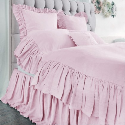 Mermaid Long Ruffle Duvet Cover Set- Pink