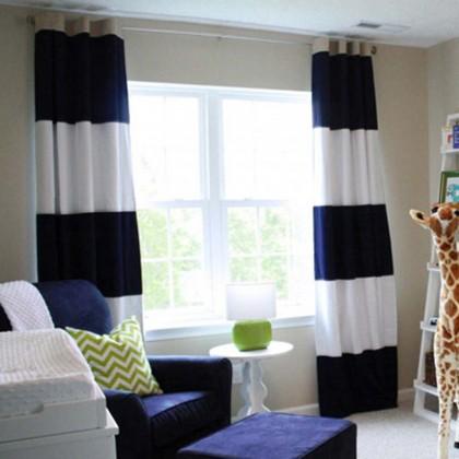 Blue Stripe Curtain Panel