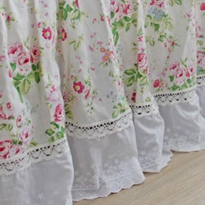 French Rose Linen Bedskirt