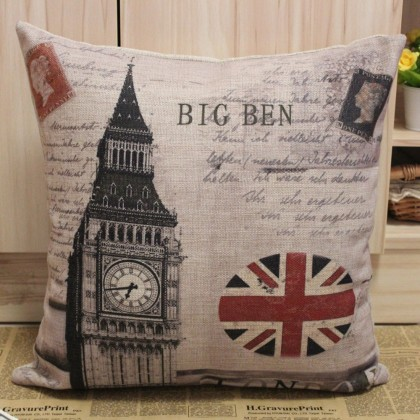 London Union Jack Big Ben Cushion Cover