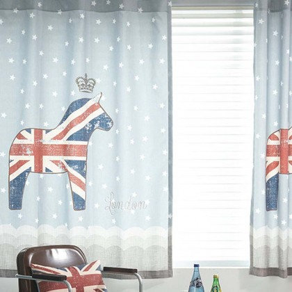 London Horse Curtain Panel