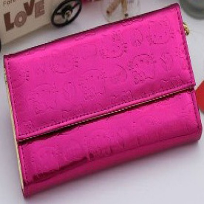 Hello Kitty Shiny Patent Embossed Fuschia Wallet (style B)