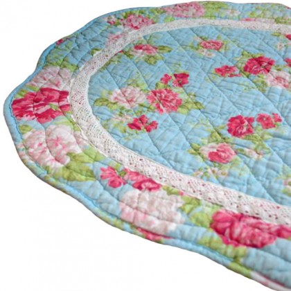 Shabby Blue Crochet Lace Mat