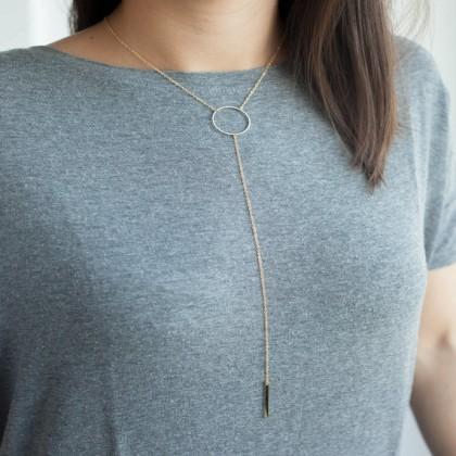 Lucky Hanging Vertical Bar Chain Necklace