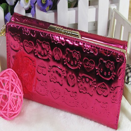 Hello Kitty Shiny Patent Embossed Fuschia Wallet (style a)