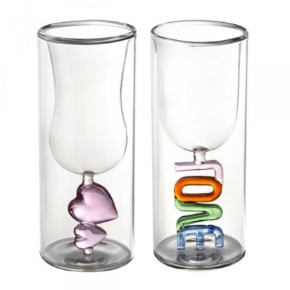 Lovers Double-Walled Art Glasses Cups Set