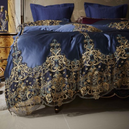 Blue Italian Lace Duvet Cover Set
