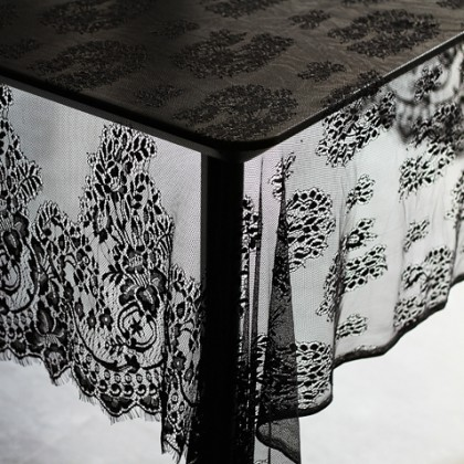 Black French Lace Farmhouse Tablecloth