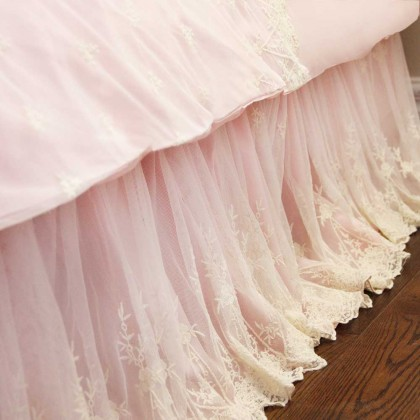 Luxury Pink Lace Love Wrap-Around Bed Skirt