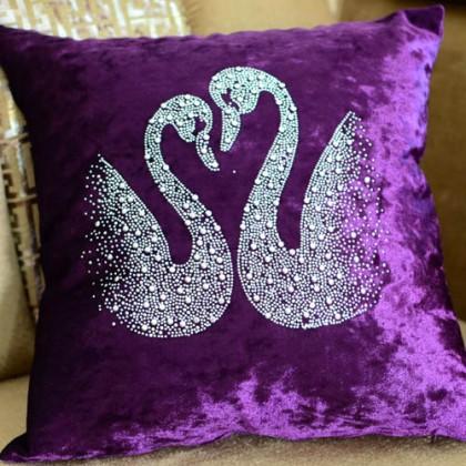 Purple Velvet Swan Cushion Cover
