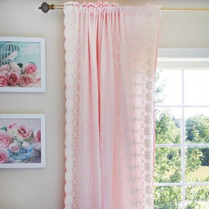 Ivory Lace Love Curtain Panel