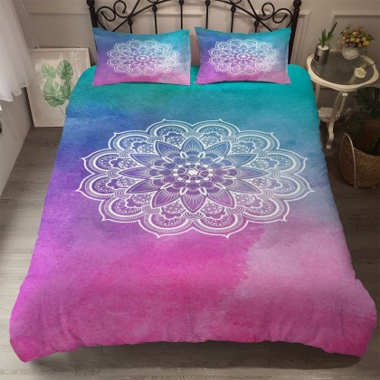 Gradient Mandala Flower Duvet Cover Set