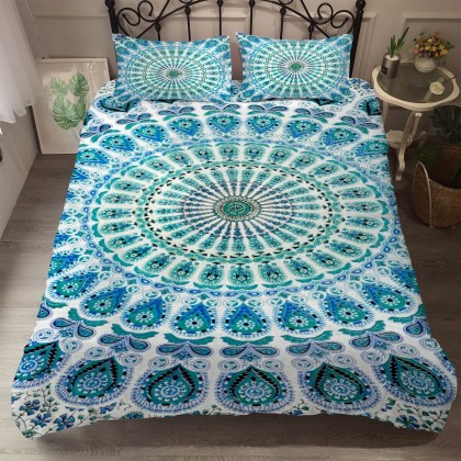 Peacock Mandala Flower Duvet Cover Set