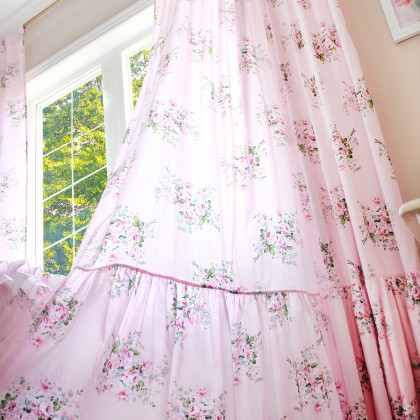Long Mermaid Ruffle Rose Curtain Panel- Pink